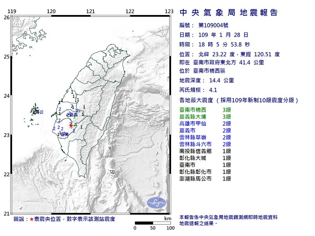Tainan's Nanxi was the epicenter of a 4.1 earthquake Tuesday evening.