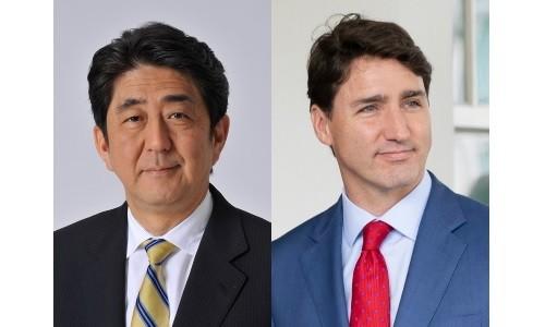 Shinzo Abe (left), Justin Trudeau (right).