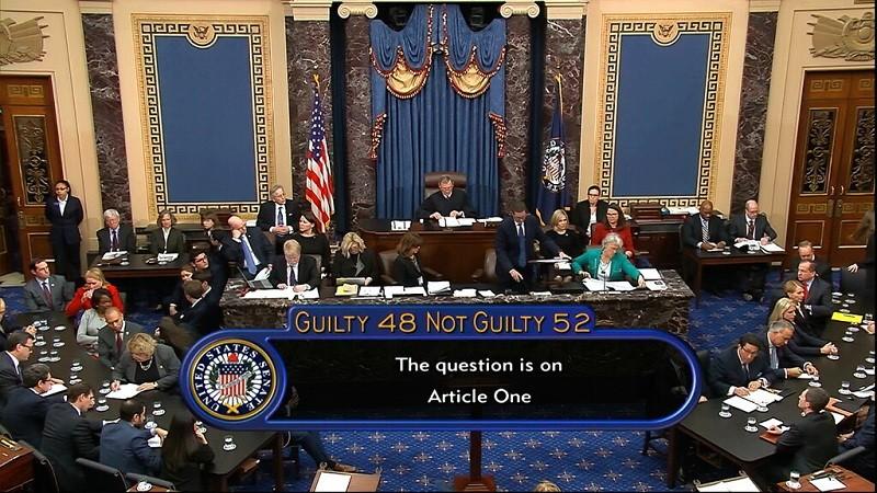 圖為參議院表決川普彈劾案的情形 (美聯社)