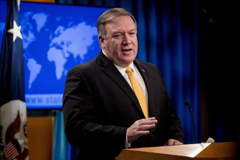 Secretary of State Mike Pompeo speaks at a news conference at the State Department in Washington.