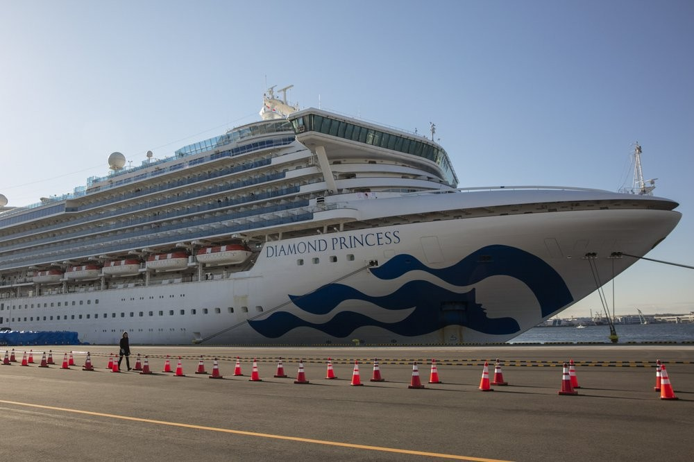 The Diamond Princess in Yokohama.