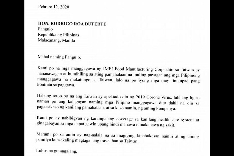 A copy of the letter signed by more than 400 Filipino workers of a Taiwanese company appealing for Philippine President Rodrigo Duterte to lift t...