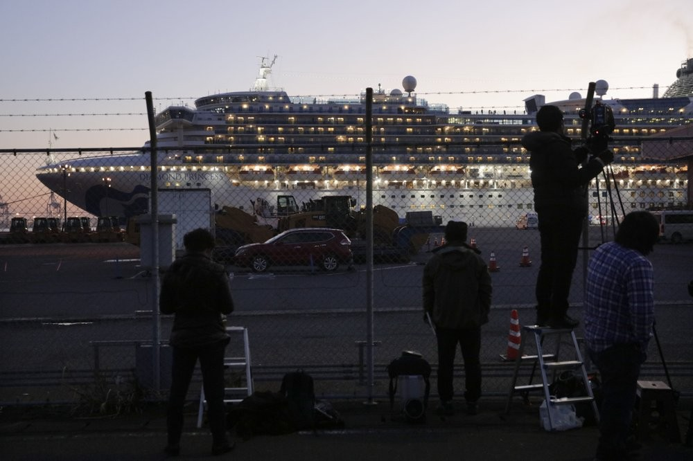 The Diamond Princess in Yokohama Thursday (Feb. 13) evening.
