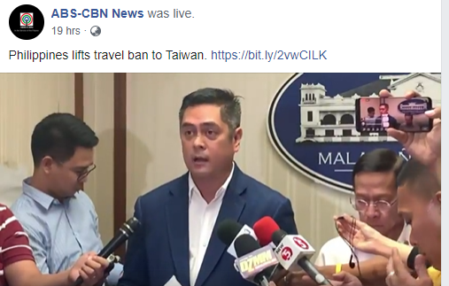 The Philippines announced the end of its Taiwan travel ban Friday (screenshot of ABS-CBN Facebook page).