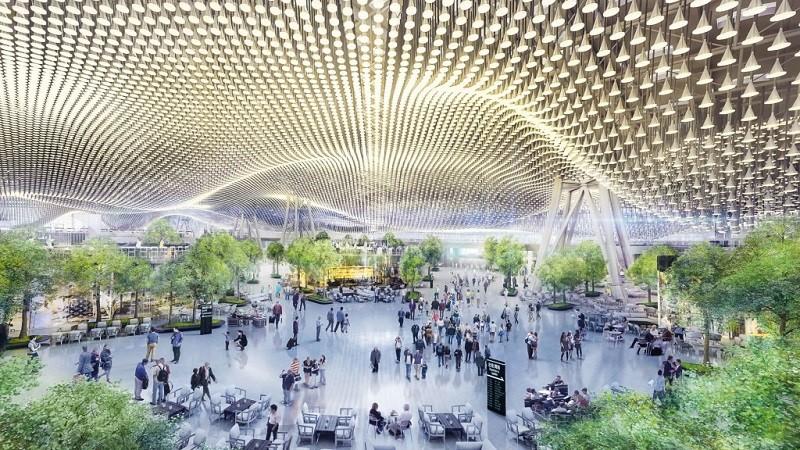 圖為桃機第三航廈出境大廳設計圖 (中央社2018年檔案照片)