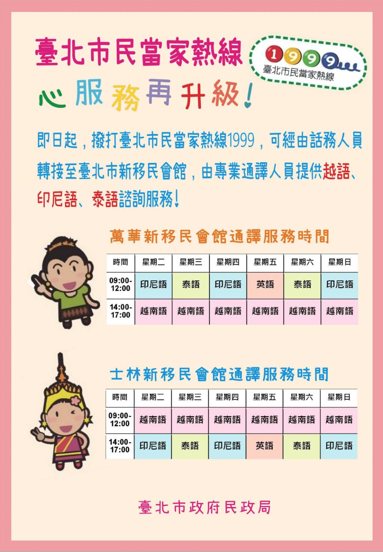 (說明:臺北市民當家熱線1999新增越南語、印尼語、 泰語諮詢服務。(照片來源:臺北市政府))