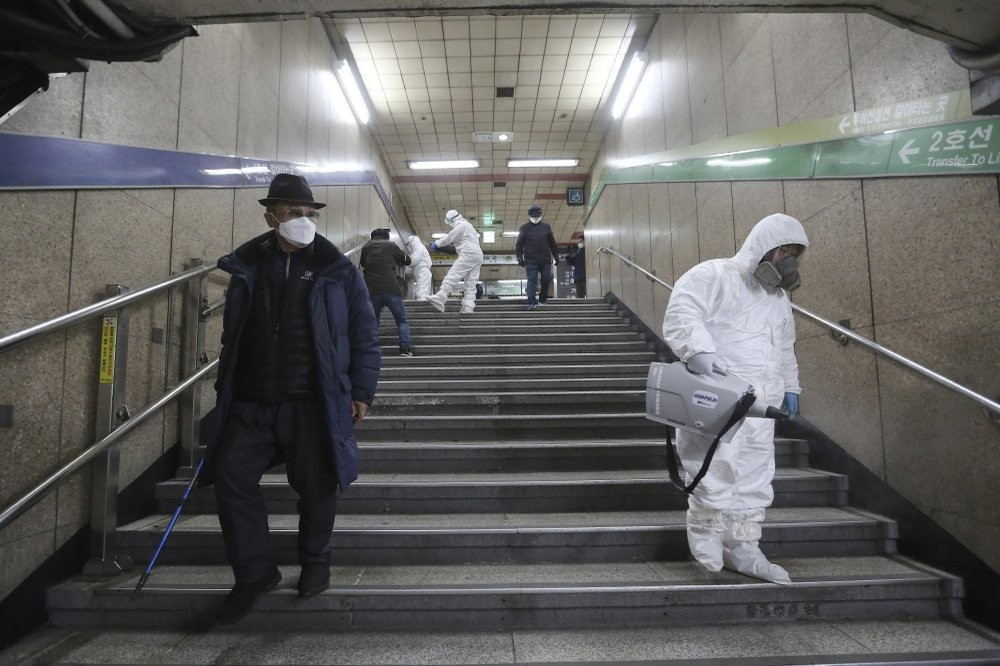 Disinfecting a subway station in Seoul, South Korea
