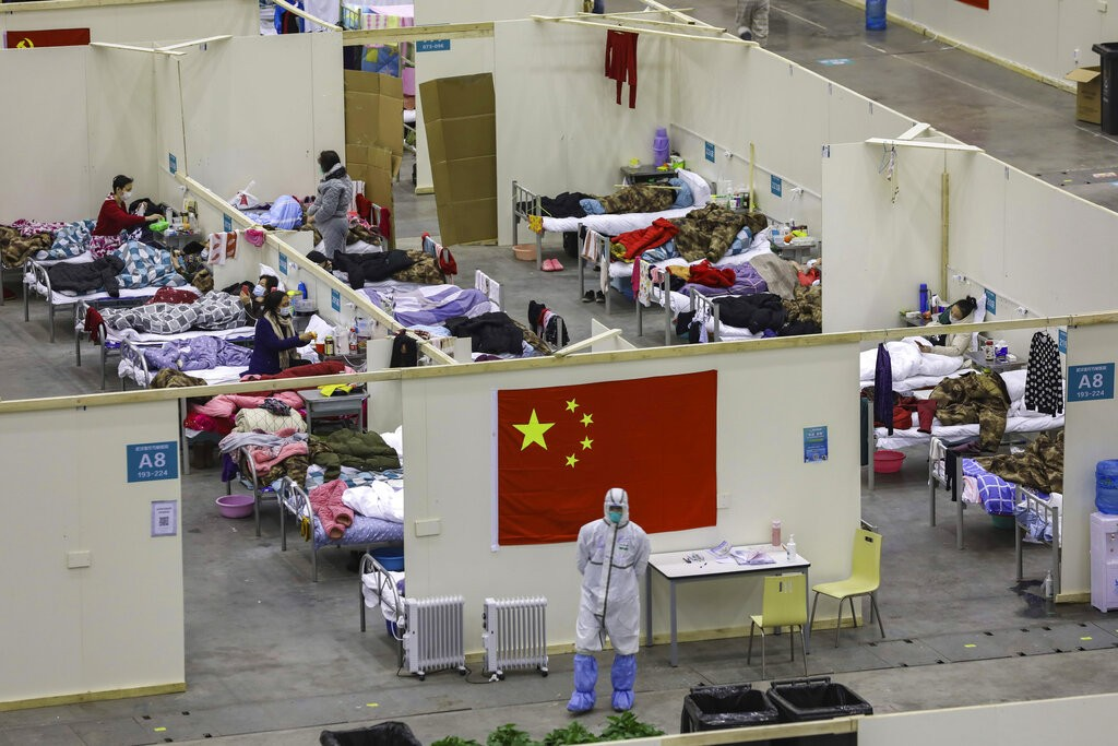 Temporary hospital converted from an exhibition center in Wuhan.