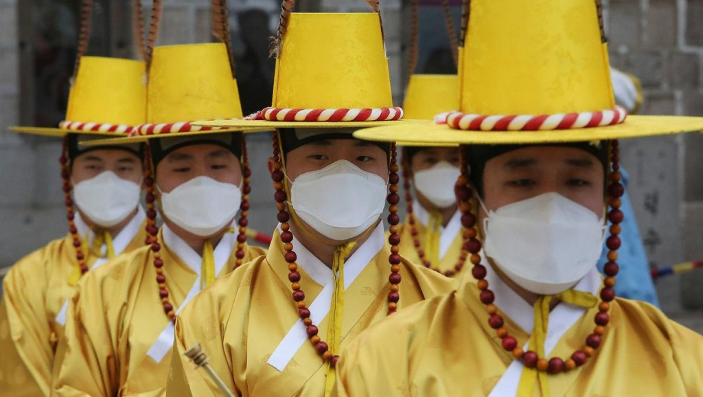 Re-enactment of the Royal Guards Changing Ceremony in front of Deoksu Palace in Seoul, South Korea.