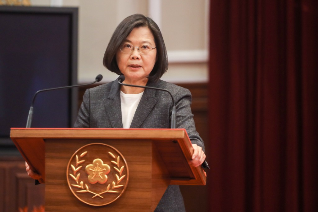 President Tsai Ing-wen speaking at the Presidential Office Tuesday Feb. 25