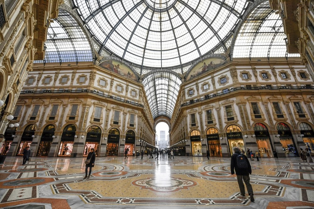 A nearly deserted Vittorio Emmanuele II shopping gallery in Milan, Italy