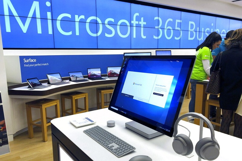A computer on display at a Microsoft store in suburban Boston.
