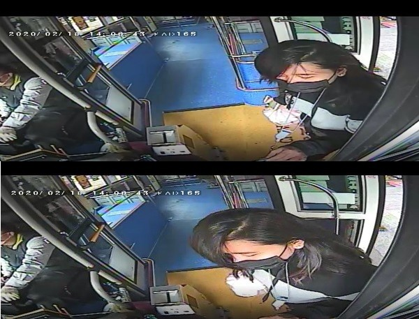 Indonesian woman infected with Wuhan virus taking New Taipei bus. (Metropolitan Transport Corporation surveillance camera images)