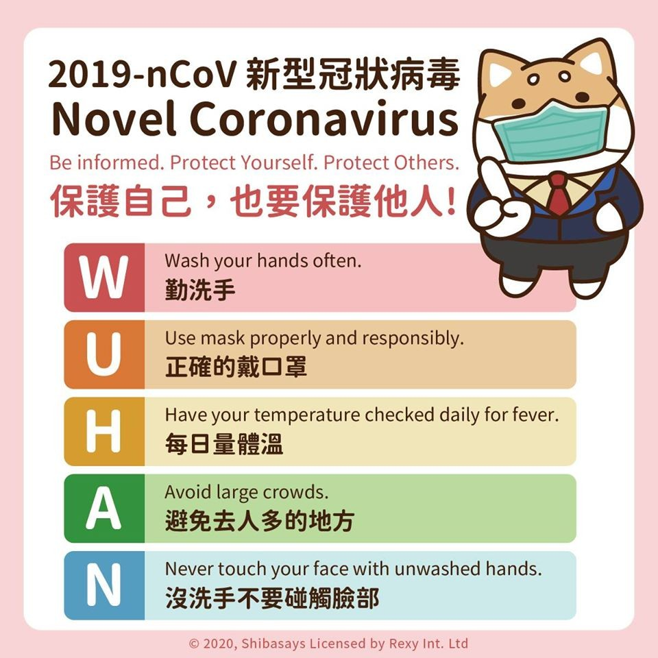 Photo of the Day: Taiwanese mascot coins acronym for coronavirus tips - WUHAN