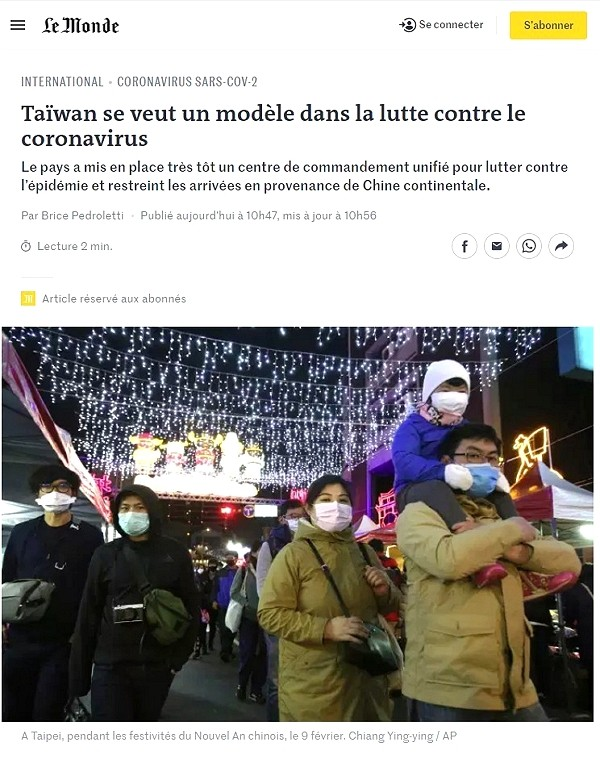 Taiwan dedicated to fight against Wuhan virus: Le Monde