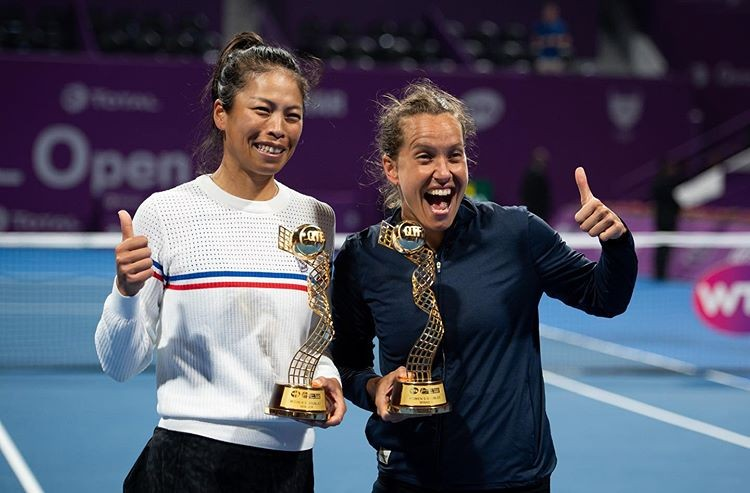 """Hsieh Su-wei (left) and her doubles partner Barbora Strycova pose after winnng Doha. (<a href=""""https://www.instagram.com/p/B9IATs6AWdx/?utm_source=ig_embed"""" target=""""_blank"""">Barbora Strycova</a>'s Instagram photo)"""