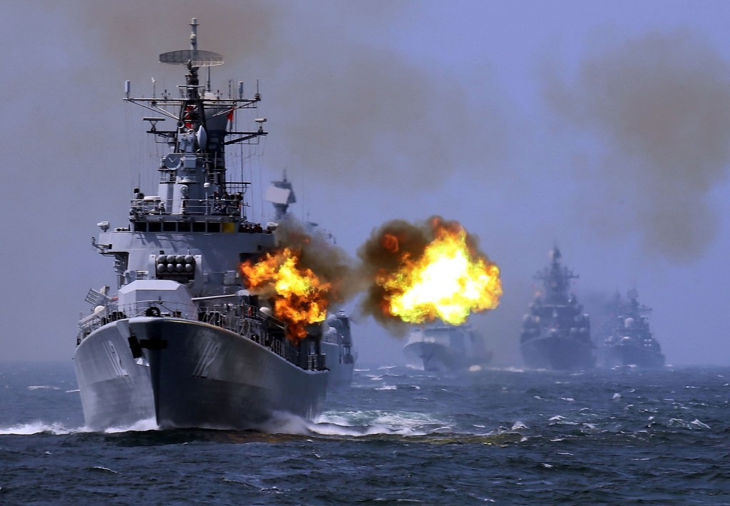 A Chinese guided missile destroyer taking part in maneuvers in 2014