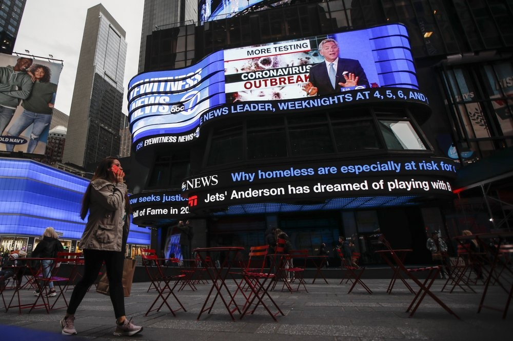 News about the coronavirus on Times Square in New York