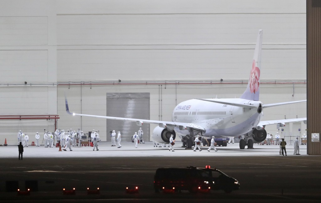 A China Airlines charter flight evacuating Taiwanese citizens from Wuhan to Taoyuan on March 11