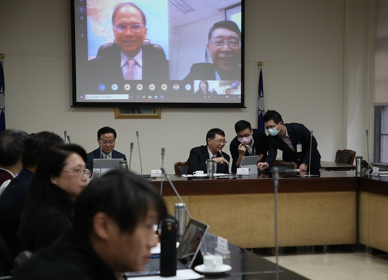Taiwan's legislature tests video conferencing on March 18.