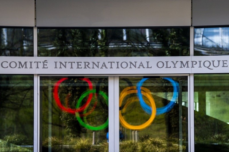 The Olympic Rings are displayed at the entrance of the IOC, International Olympic Committee headquarters during the coronavirus disease (COVID-19) out...