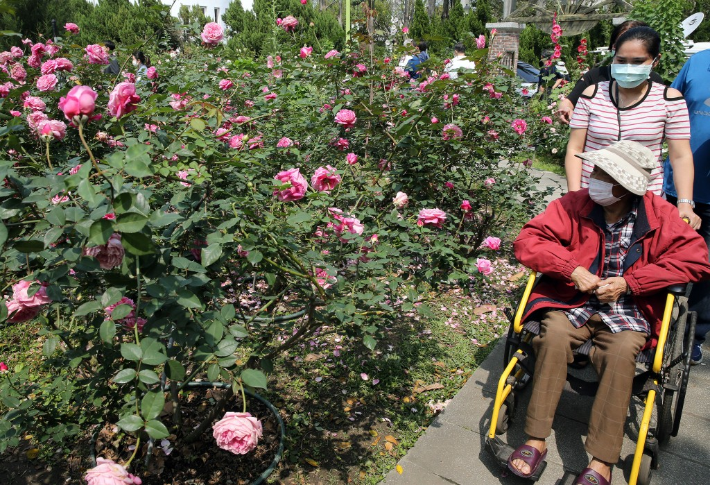 Visitors at a rose exhibition in Taipei wearing masks Wednesday March 25