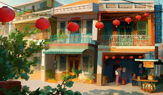 Old Taiwanese homes. (Ruby Wang painting)