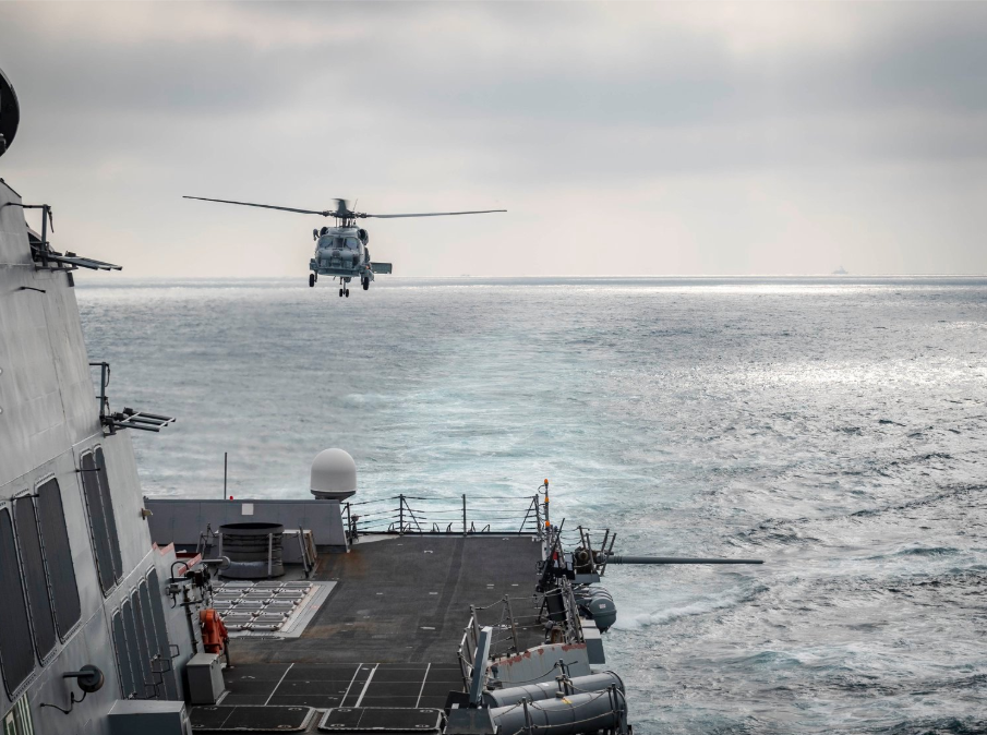A Sea Hawk helicopter taking off from the USS McCampbell in the Taiwan Strait Wednesday March 25 (screenshot from US Pacific Command Facebook page)&nb...