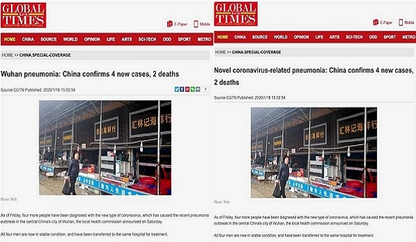 "Screenshots show ""Wuhan"" removed from Global Times article title. (Twitter photo)"