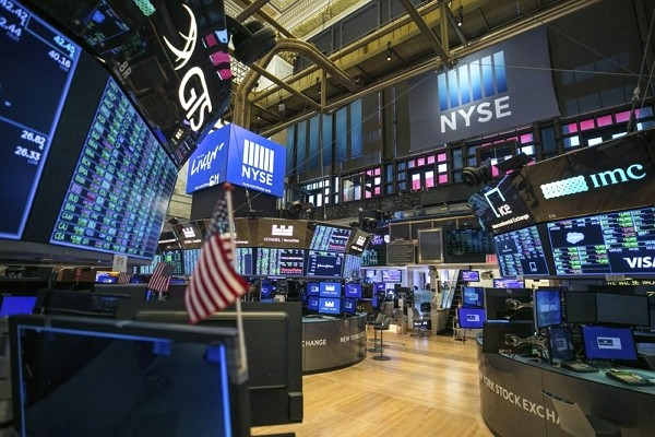 Unoccupied NYSE trading floor, closed temporarily for the first time in 228 years as a result of coronavirus concerns.