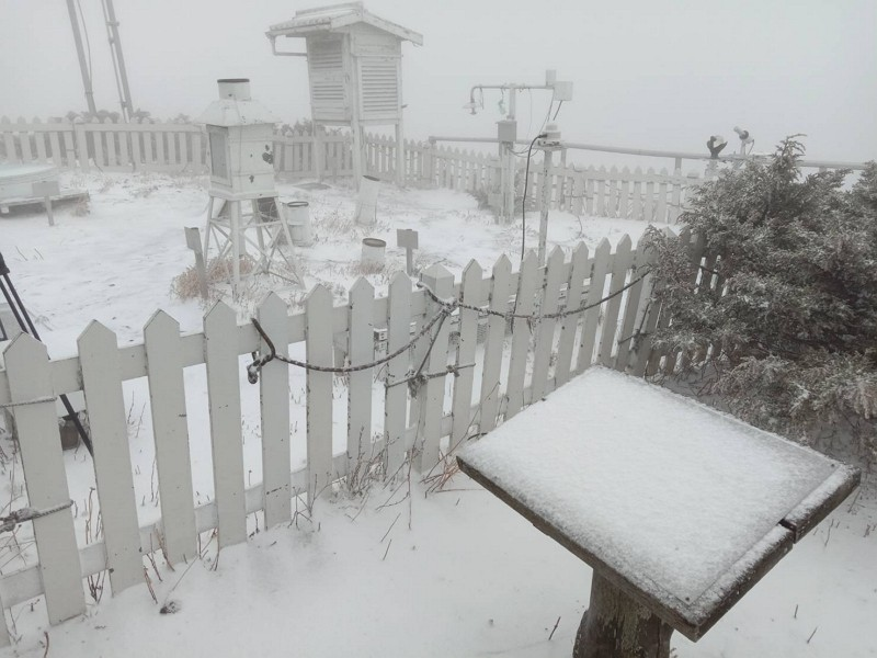 Yushan snowfall (Central Weather Bureau photo)
