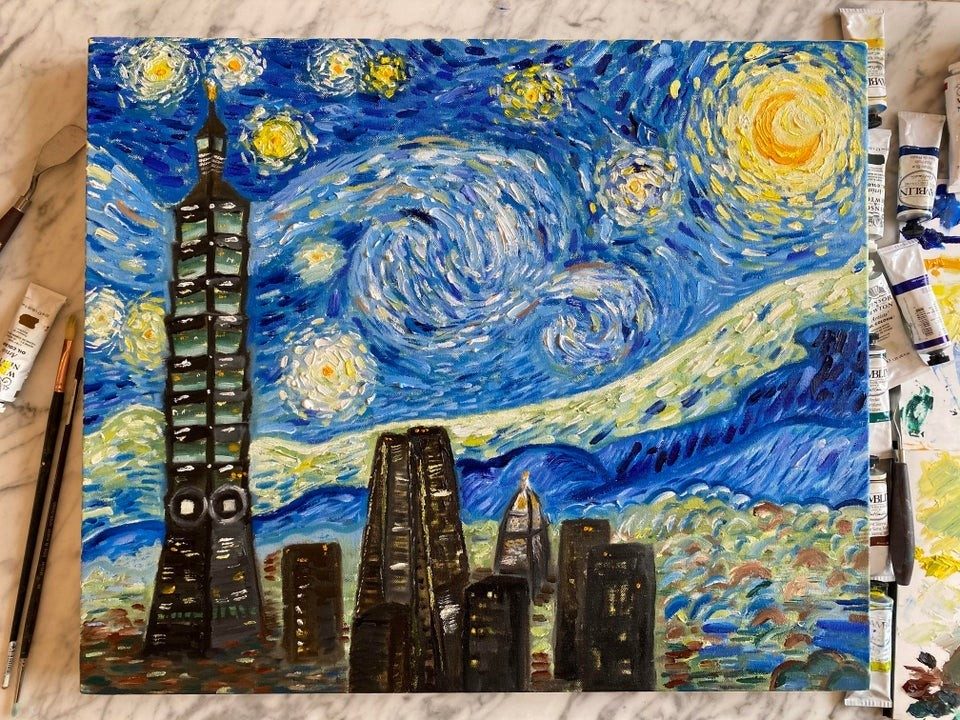 """Starry Taipei Night."" (IG <a href=""https://www.instagram.com/jacky_oilpaintings/"" target=""_blank"">@jacky_oilpaintings</a>)"