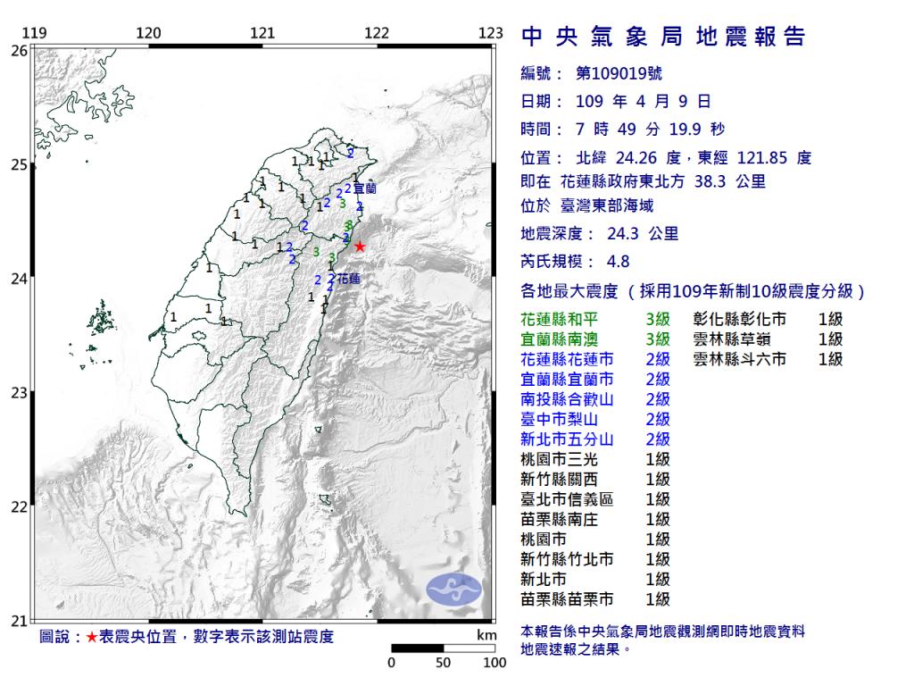 花蓮近海地震芮氏規模4.8 宜花震度3級