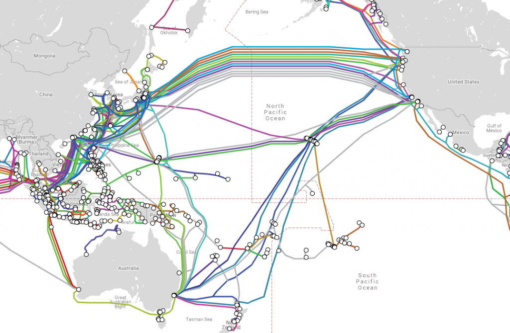 Submarine cable networks across Pacific Ocean (Submarine Cable Map Screenshot)