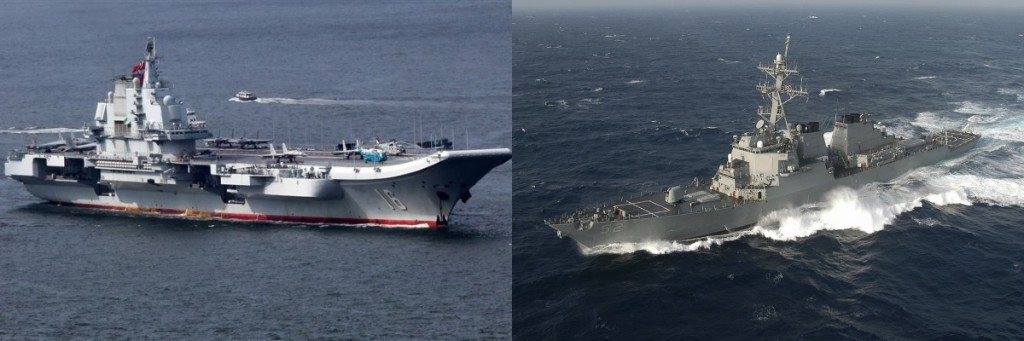 Liaoning (left) (CNA photo), USS Barry (right) (Wikimedia Commons photo)