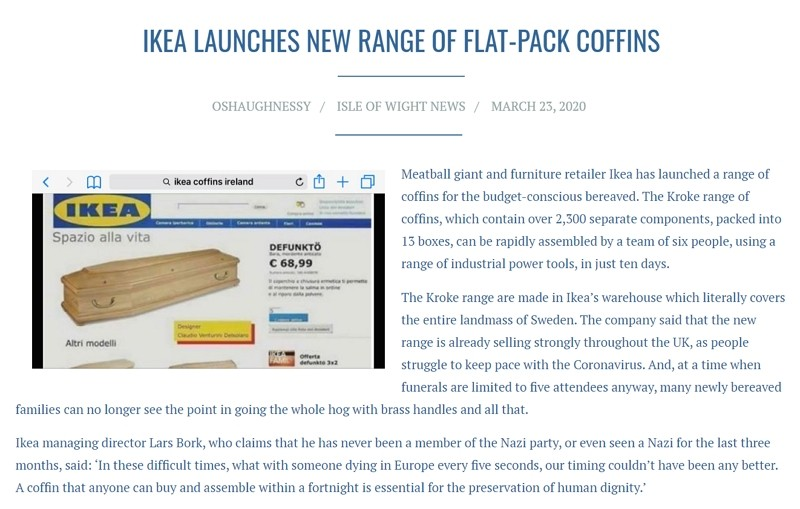 Fake News Ikea Reported To Sell Coffins Amidst Soaring Coronavirus Deaths Taiwan News 2020 04 13