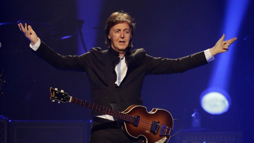 Paul McCartney on stage in Orlando, Fla. (AP photo)