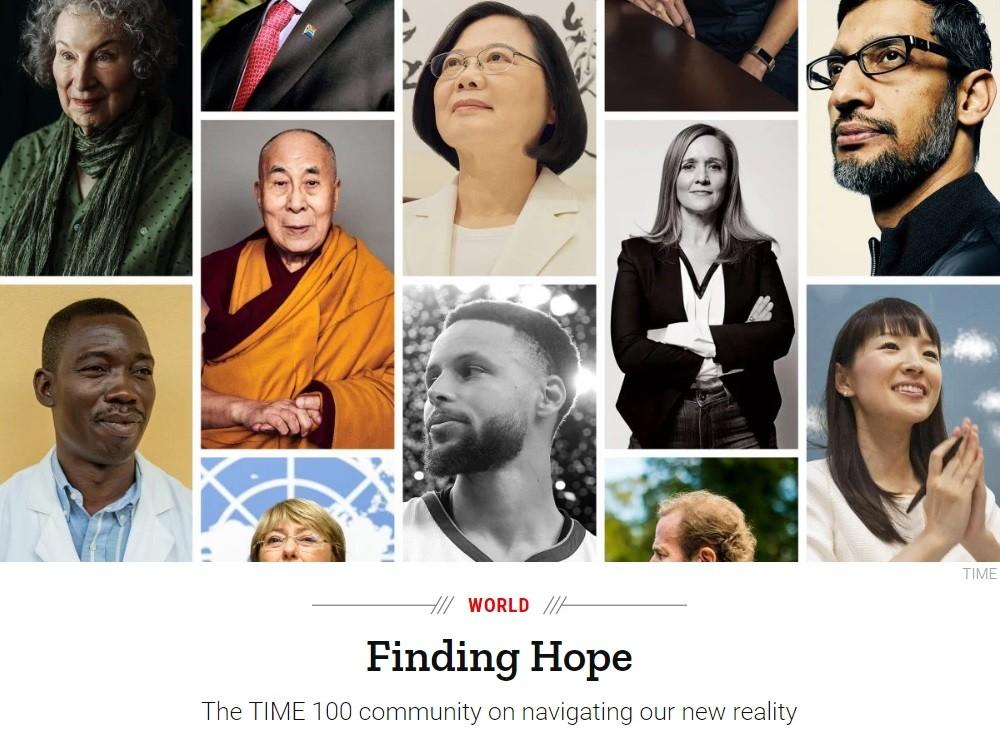 《時代雜誌》4月專刊「尋找希望:時代百大影響力人物社群領航我們的新實境」(截圖自《時代雜誌》)