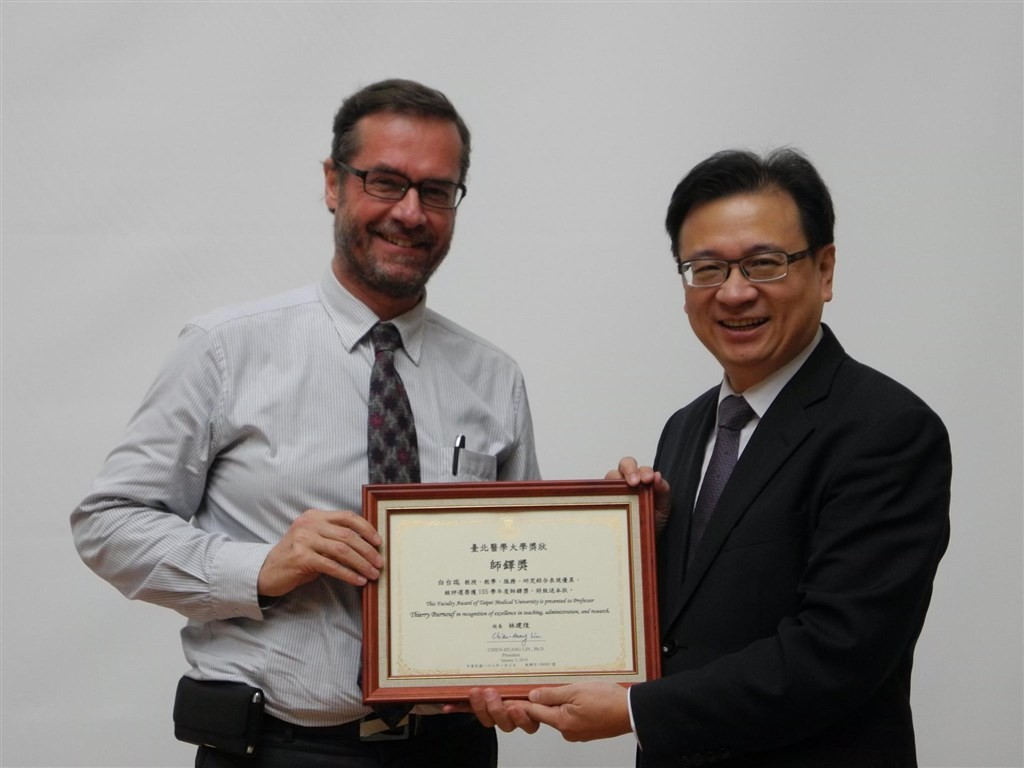 French blood plasma expert Thierry Burnouf (left) is one of five new Taiwanese
