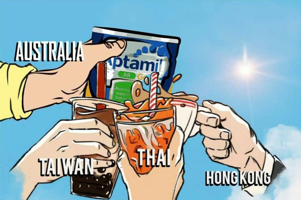 Milk Tea Alliance meme. (Twitter, @Khunprinx illustration)