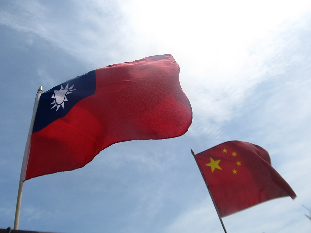 Taiwanese national flag (left), Chinese national flag (right)