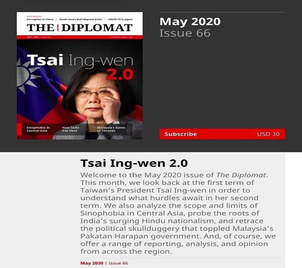 President Tsai Ing-wen on the cover of The Diplomat
