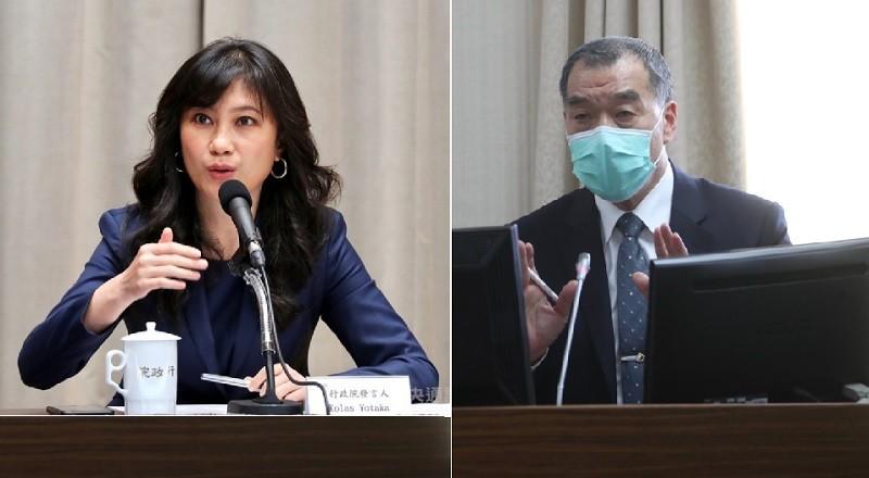 左為行政院發言人Kolas, 右為國安局長邱國正 (中央社檔案照片/TN 後製)