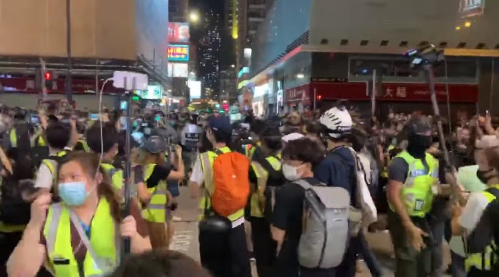 Hong Kong protest on May 10. (Screenshot from Undergrad, H.K.U.S.U. Instant NewsFacebook streaming video)