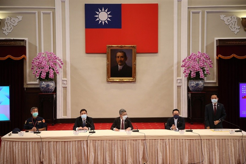 示意照為總統府11日上午召開記者會,說明第15任總統暨副總統就職典禮相關規劃。(中央社)