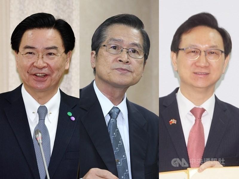 外交部長吳釗燮(左)、國防部長嚴德發(中)均留任。僑委會委員長由駐泰大使童振源(右)接任。(中央社檔案照片)