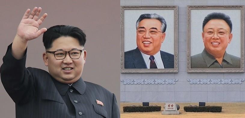 Kim Jong Un (left), portraits of Kim Il Sung, Kim Jong Il (right). (AP and Wikimedia Commons photos)