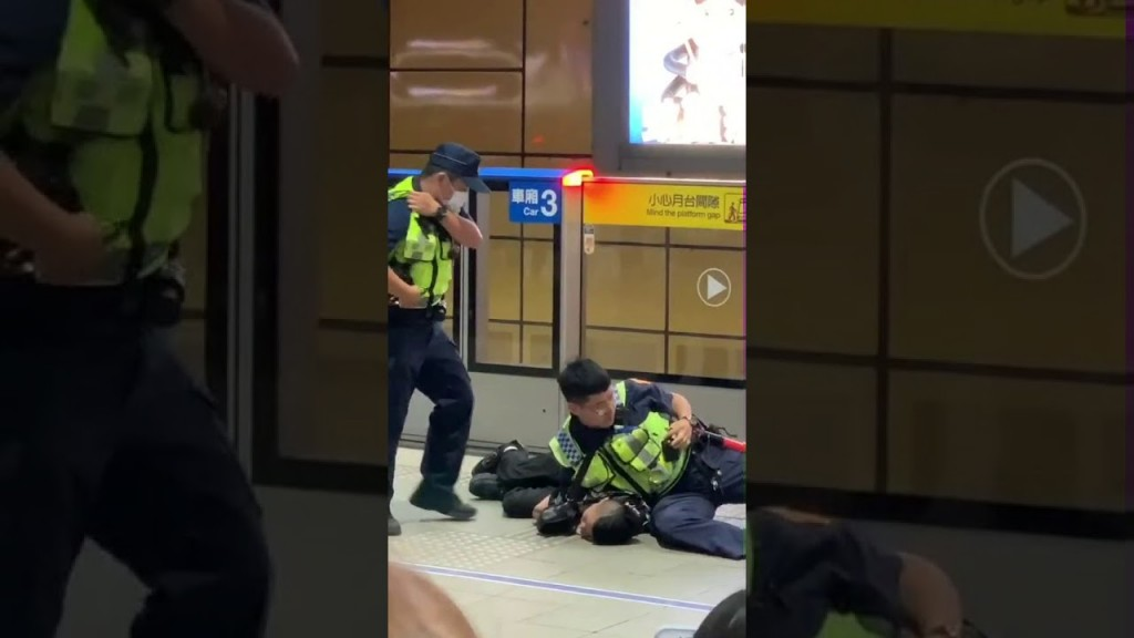 Officers arresting Cheng. (YouTube, screenshot)