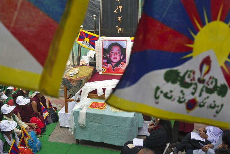 A portrait of the 11th Panchen Lama, Gendhun Choekyi Nyima, an important religious leader second only to the Dalai Lama in the Tibetan Buddhist hierar...