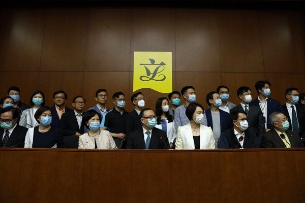 Pro-China lawmakers attendpress conference in respond to Beijing's proposal of new Hong Kong security legislation.